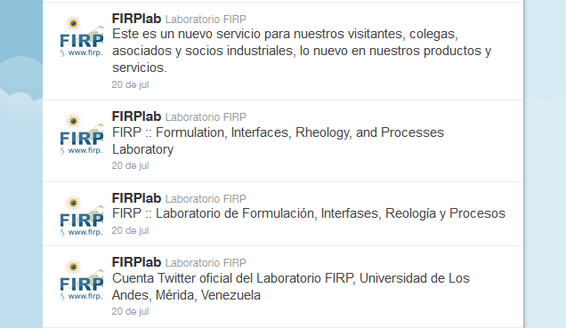 Cuenta Twitter @FIRPLab